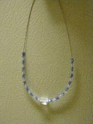 Blue Clear Block Beaded Necklace