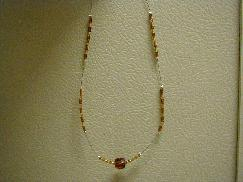 Brown Cube Beaded Necklace