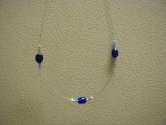 Blue Oval Beaded Necklace