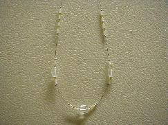 Gold White Frost Beaded Necklace