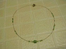 Green Stripe Beaded Necklace