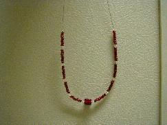 Red Cube Beaded Necklace